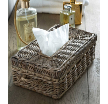 Rustic Rattan Tissue Box Holder