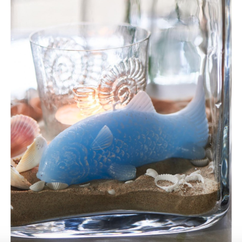 Lucky Fish Candle blue