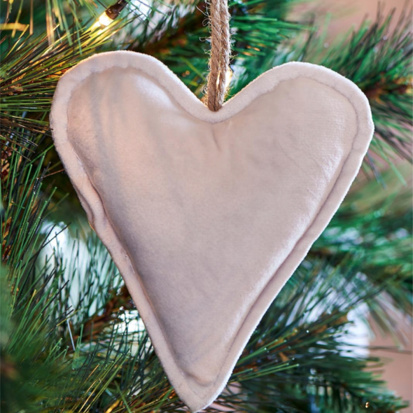 Velvet Heart Ornament off-white S