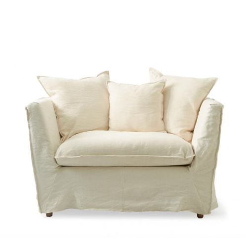 Oyster Pond Love Seat, washed linen, white