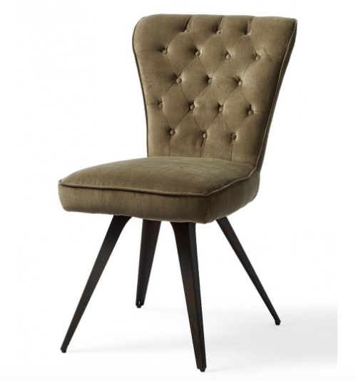 Williamsburg Dining Chair, herringbone velvet, granite
