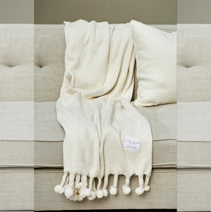 Pretty Pompon Throw white 170x130