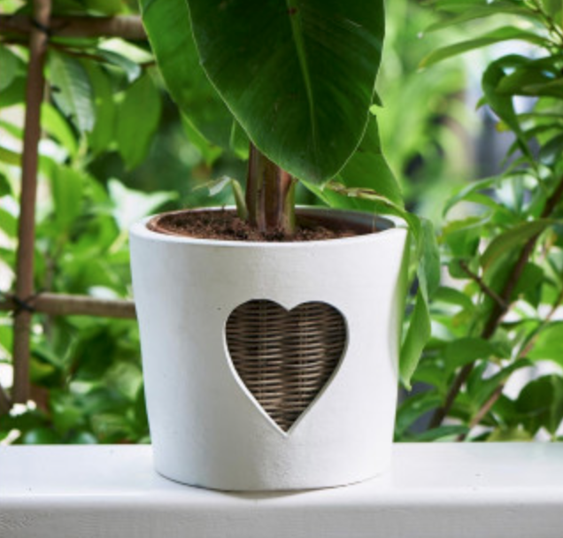Rustic Rattan Heart Pot L