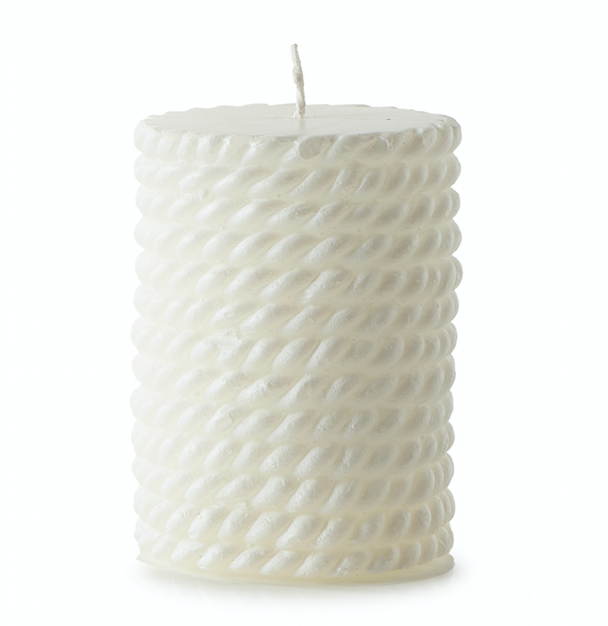 Sailor Rope Candle white 7x10