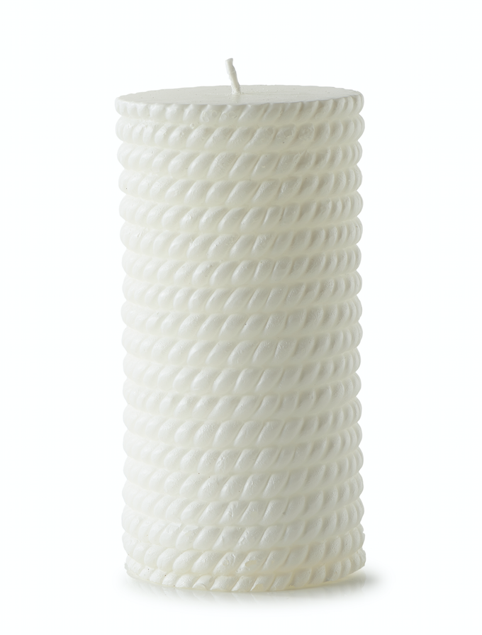 Sailor Rope Candle white 7x15