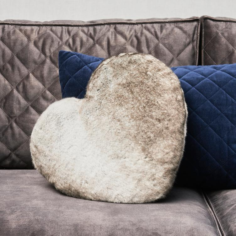 Chinchilla Faux Fur Heart Pillow