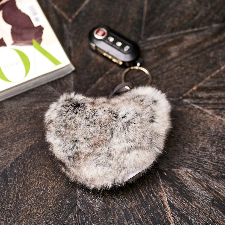 Heart Faux Fur Key Chain
