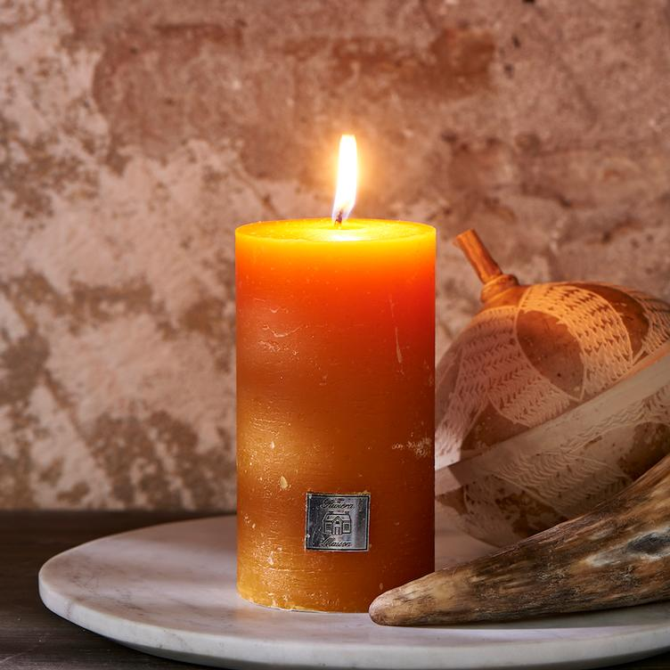 Rustic Candle ocher yellow 7 x 13