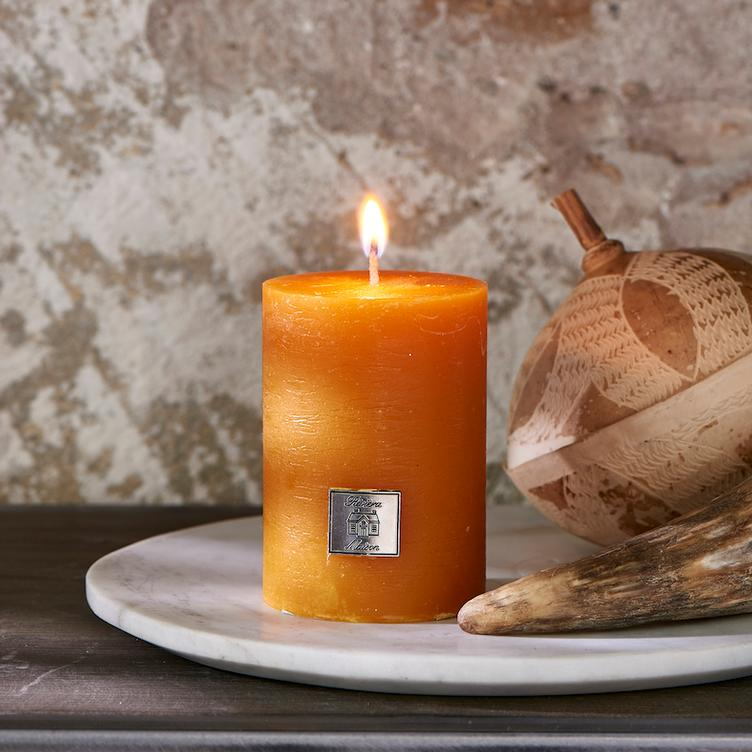 Rustic Candle ocher yellow 7 x 10