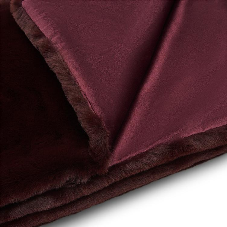 Faux Fur Throw Burgandy 170x130