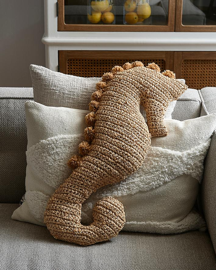 Sea Horse Raffia Pillow