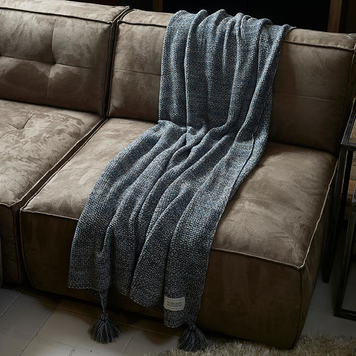 Rhythm Knitted Throw 180x130 blue