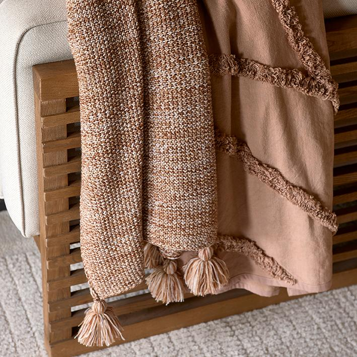 Desert Knitted Throw 180x130 brown