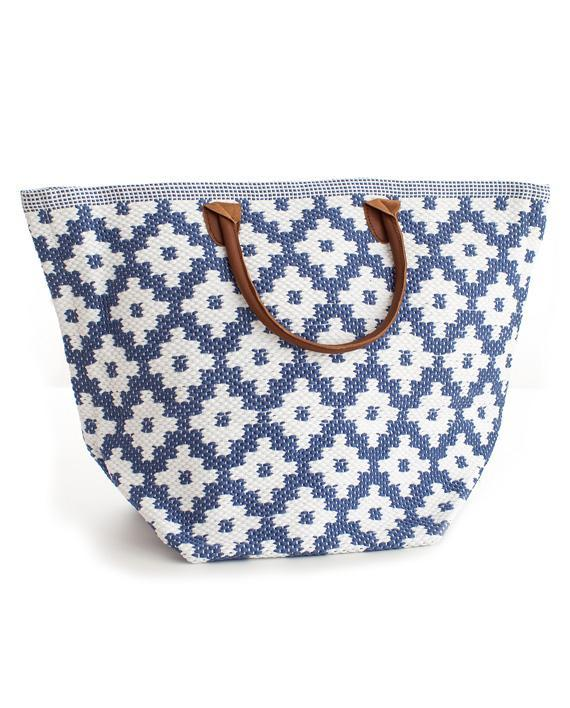 Le Tote Bag L Denim/white