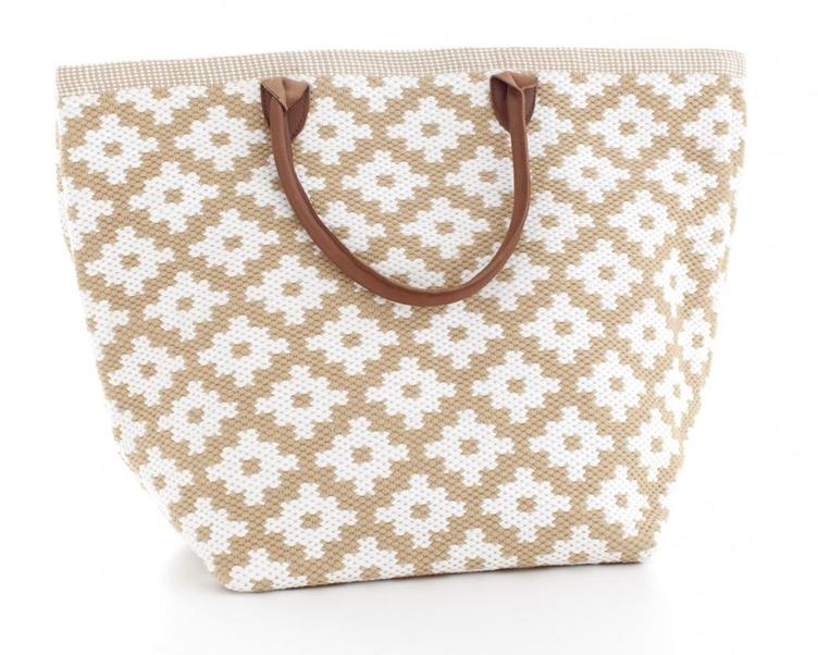 Le Tote Bag L Wheat/White